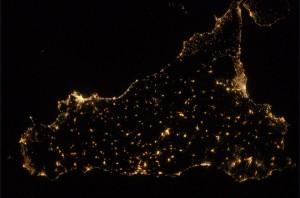 Sicilia dalla spazio immagine di Luca Parmitano